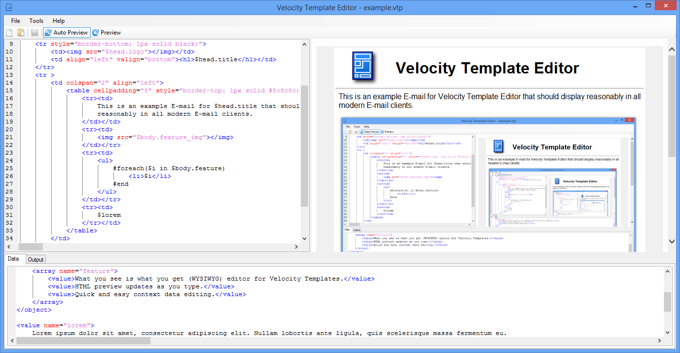 Velocity Template Editor Is A WYSIWYG For The Language It Allows Very Quick Creation And Debugging Of Templates By Presenting